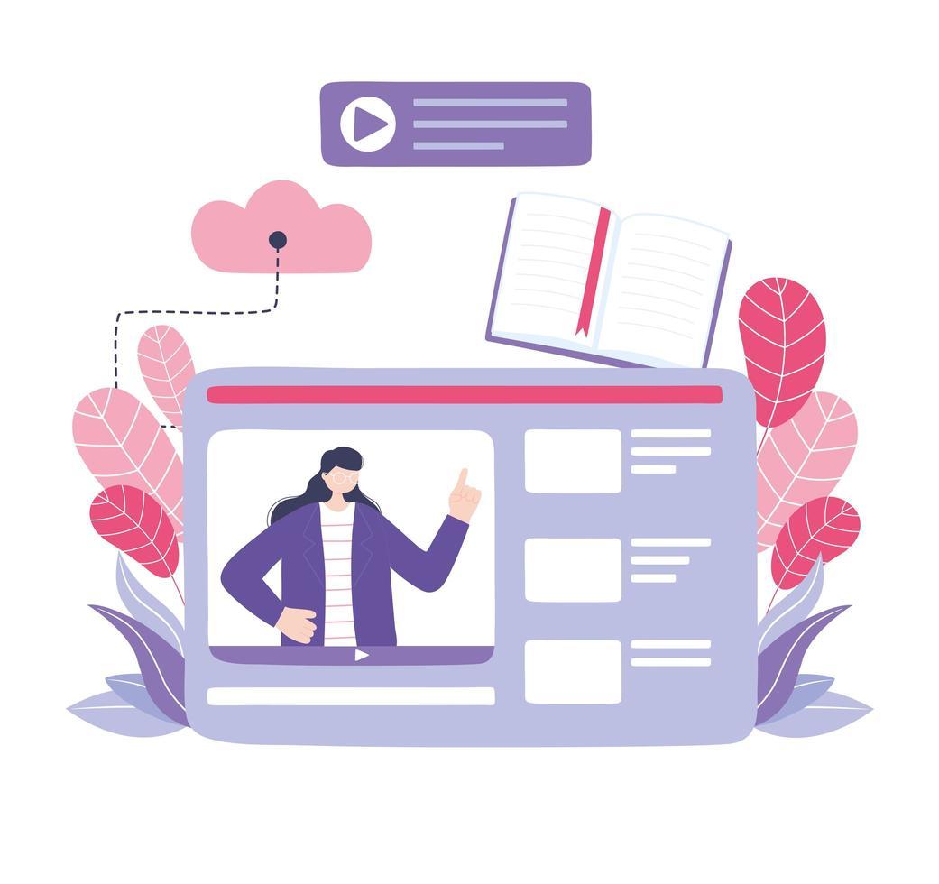 donna che parla in un webinar per l'istruzione online vettore