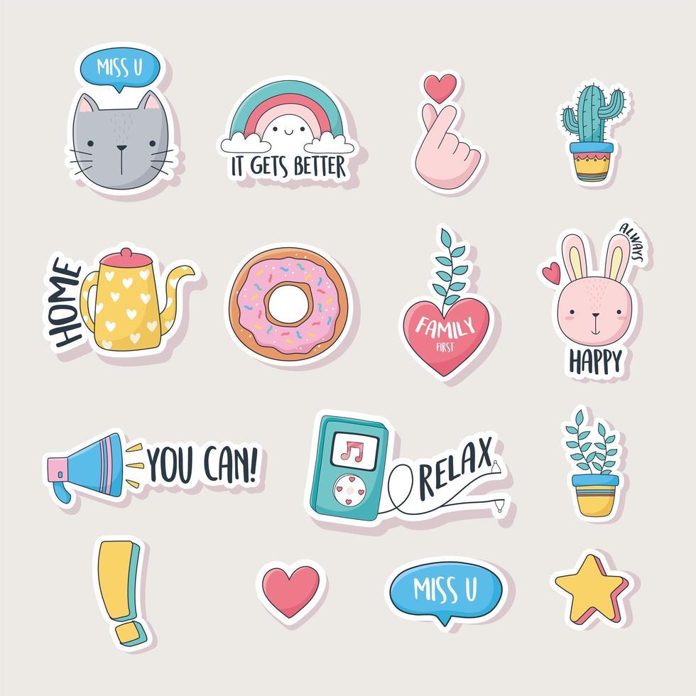 iconos lindos surtidos para tarjetas, pegatinas o parches vector
