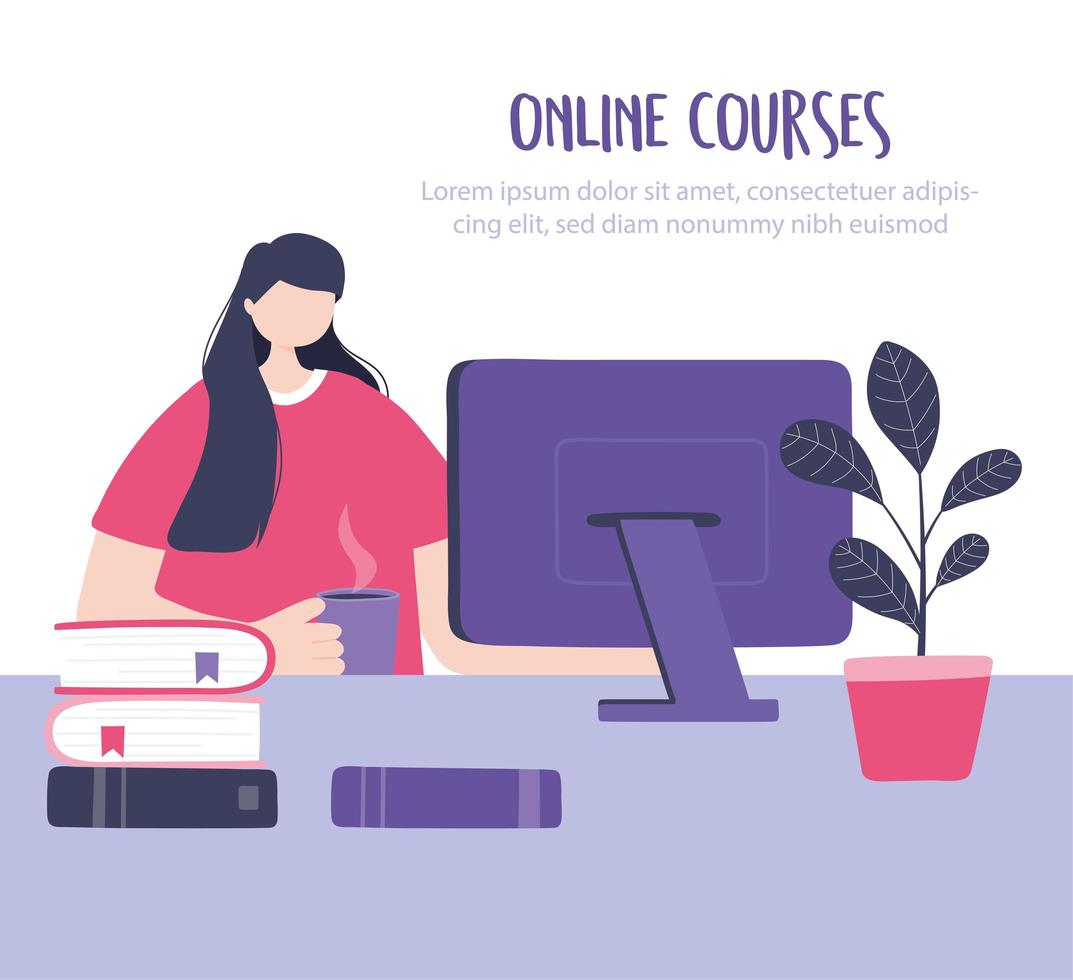 Girl taking an online training on the computer vector