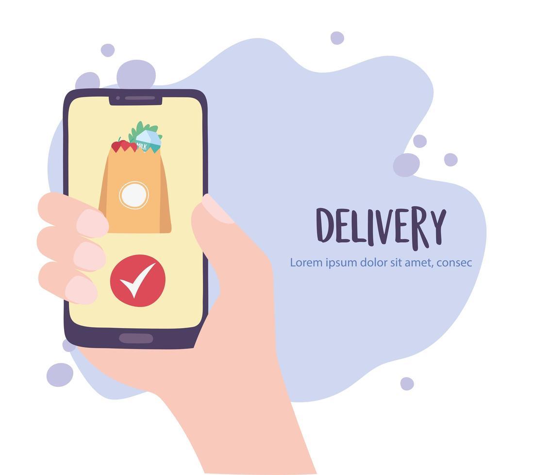 servizio di consegna online con ordinazione di generi alimentari a mano vettore