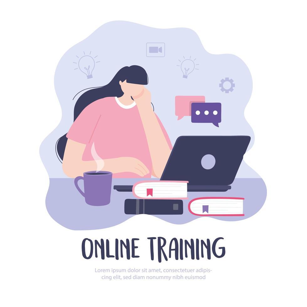 chica con laptop tomando una capacitación en línea vector