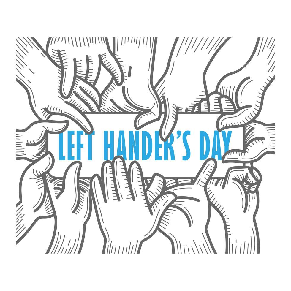 tarjeta del día de los zurdos con manos sosteniendo texto vector