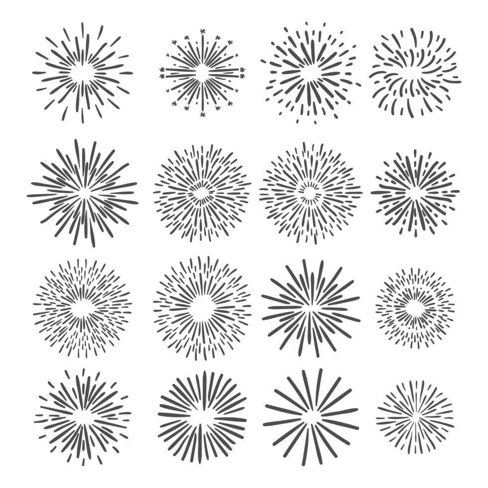 fuegos artificiales dibujados a mano vector