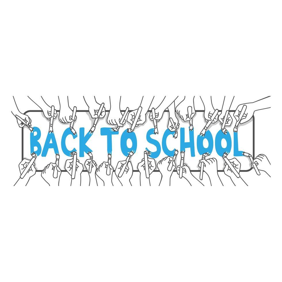 manos pintando las palabras 'regreso a la escuela' vector
