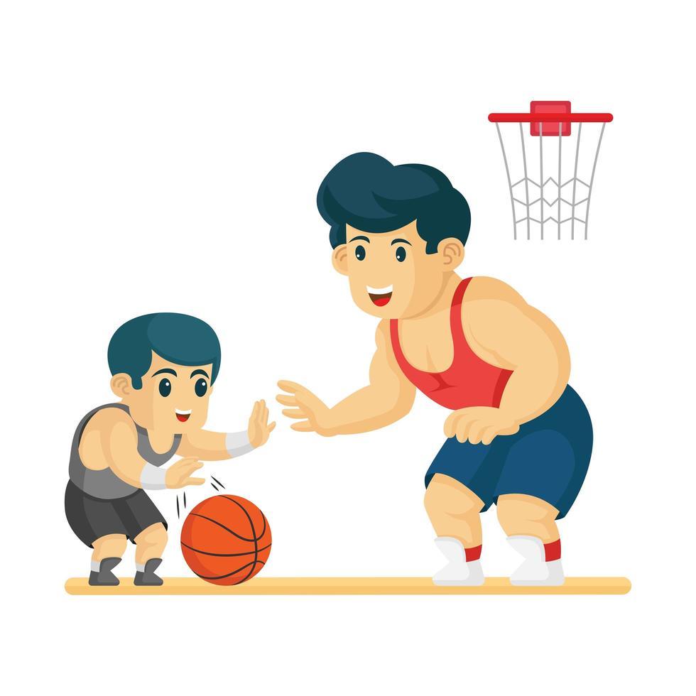 padre e hijo jugando baloncesto juntos vector