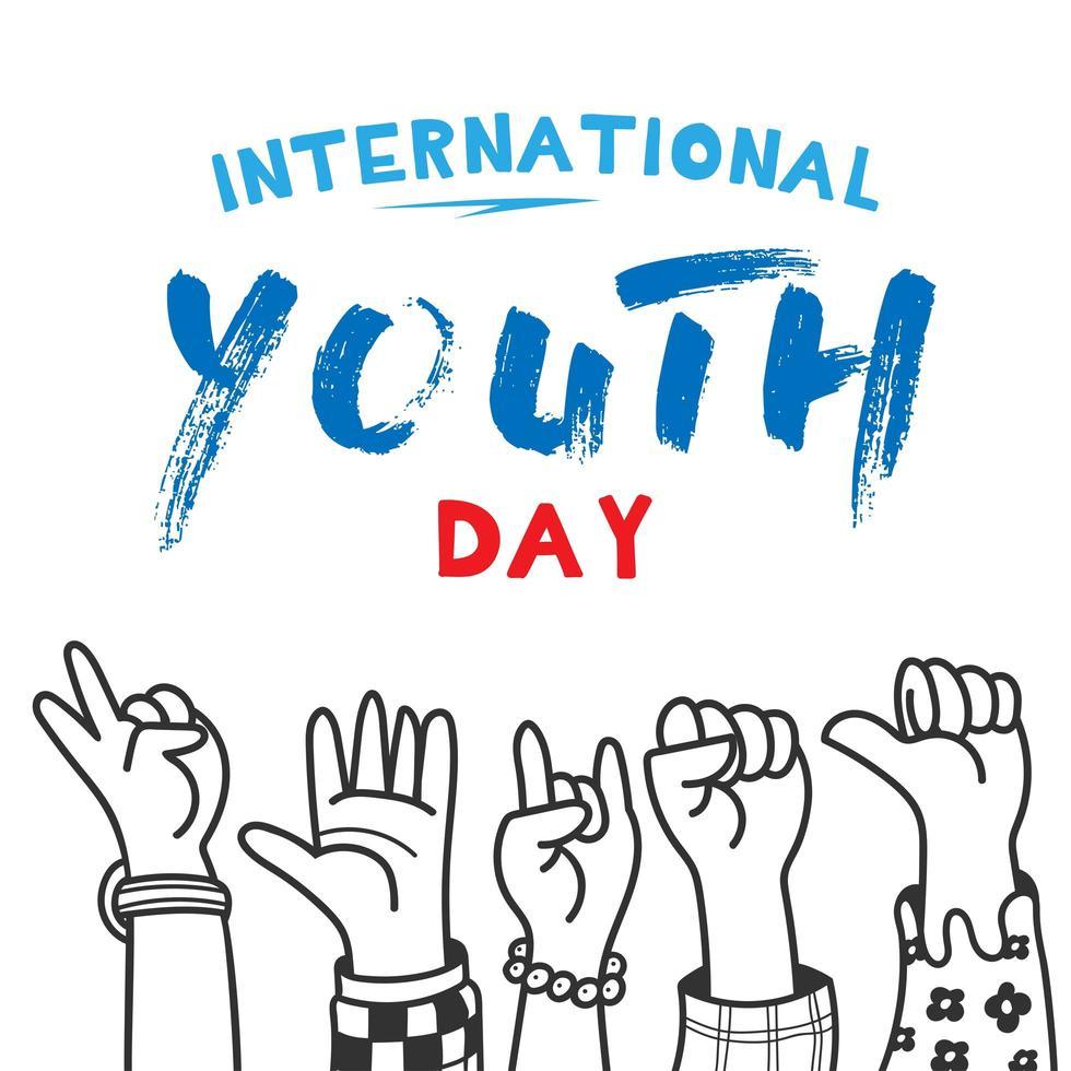 design della giornata internazionale della gioventù con le mani alzate vettore