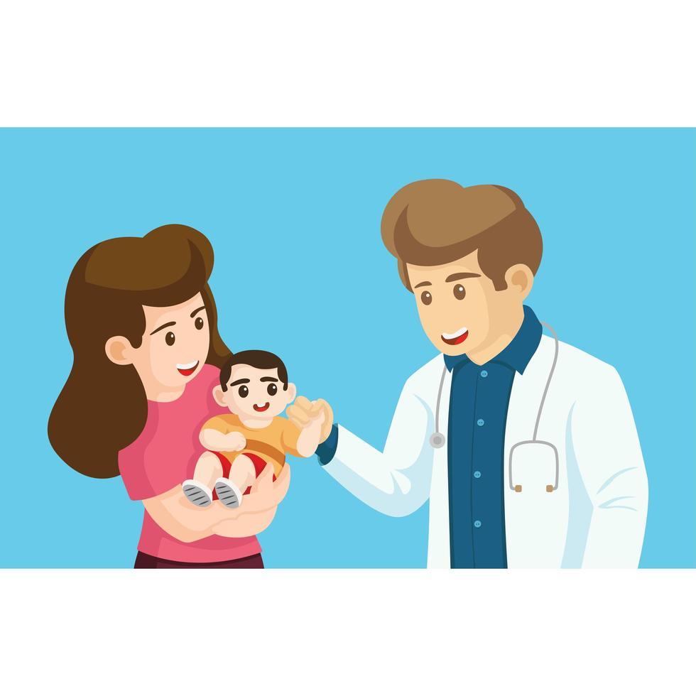 madre e il suo bambino con il medico vettore
