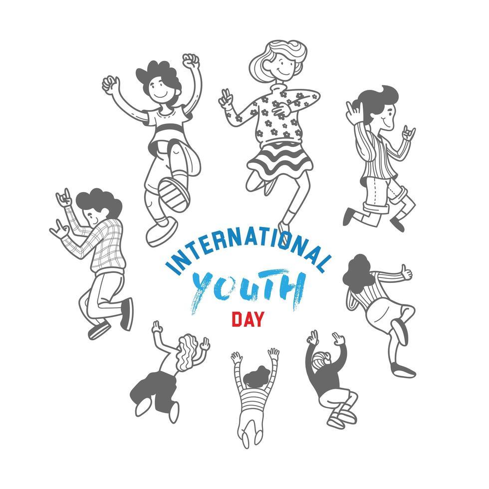 design della giornata internazionale della gioventù con adolescenti juping vettore