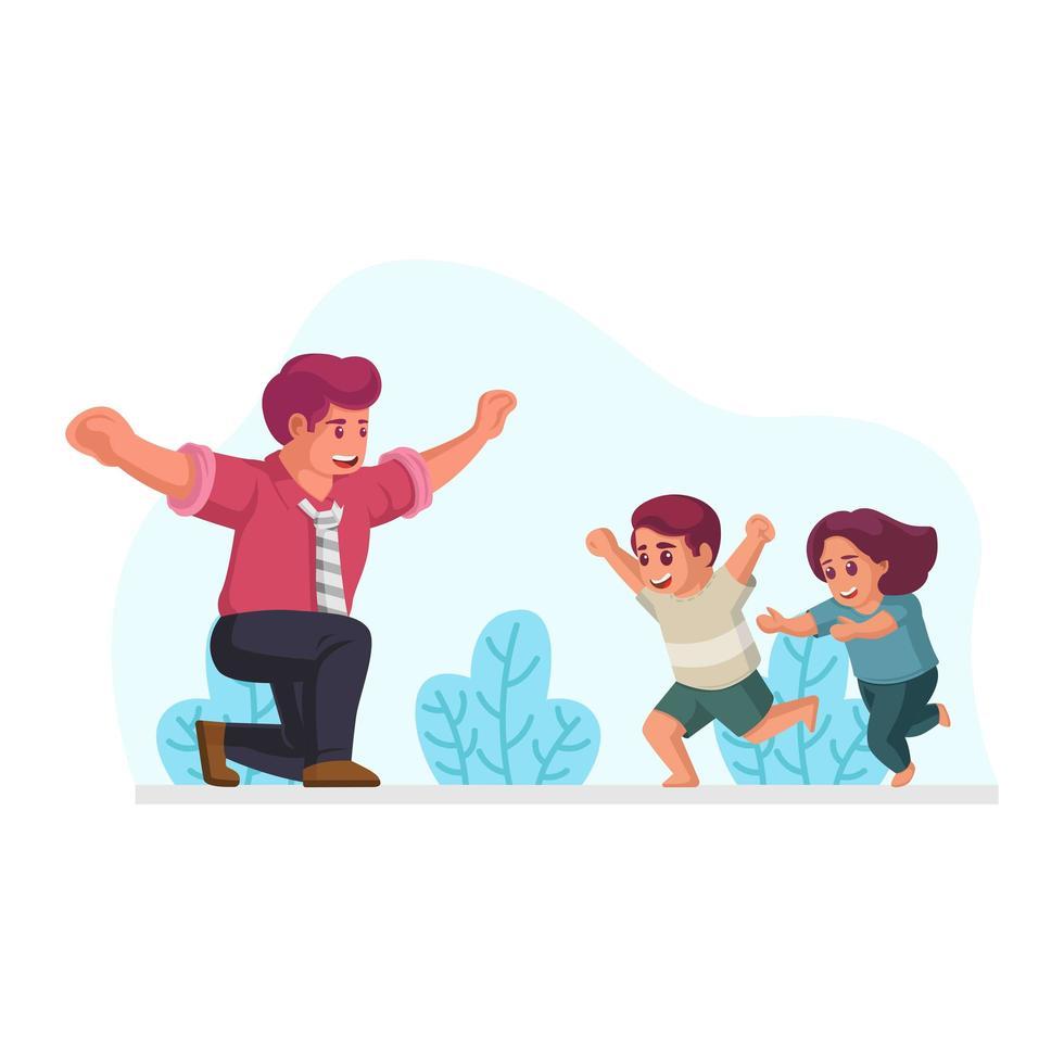 hijo e hija corriendo hacia el padre con los brazos abiertos vector
