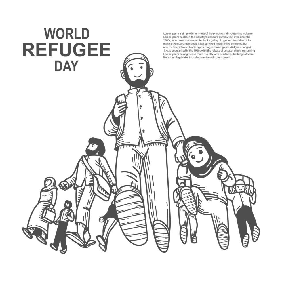 progettazione della giornata mondiale dei rifugiati con padre e figlia vettore
