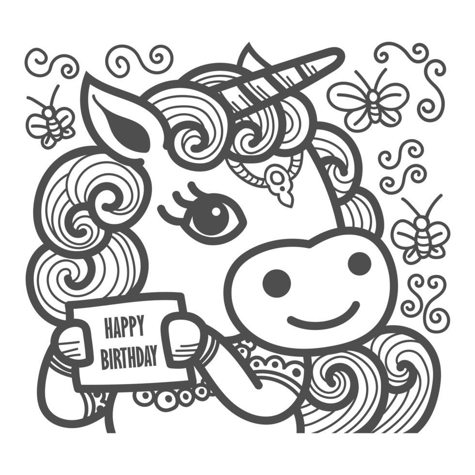 Precioso unicornio con tarjeta de feliz cumpleaños vector