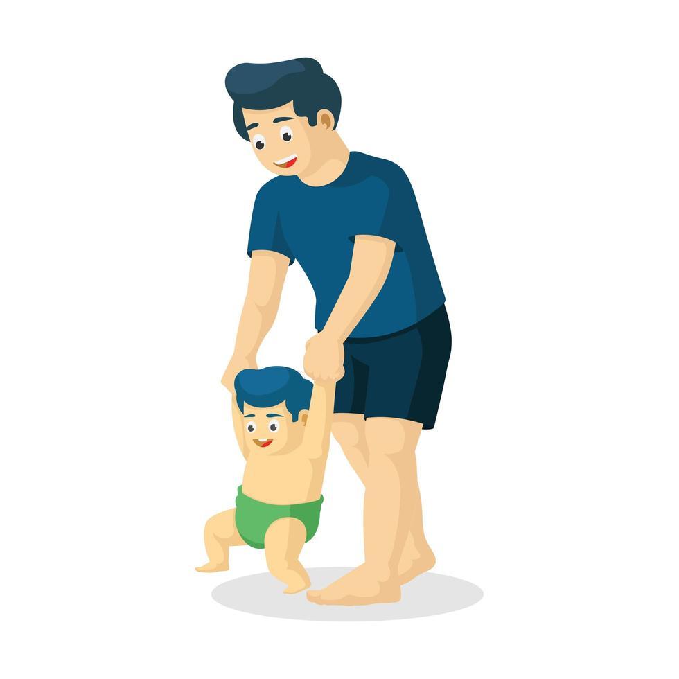 padre enseñando a su hijo a caminar vector
