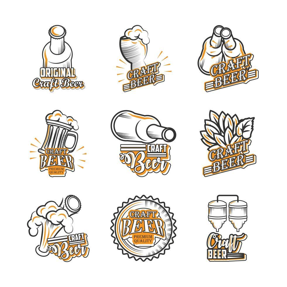 set di icone cool di birra artigianale vettore
