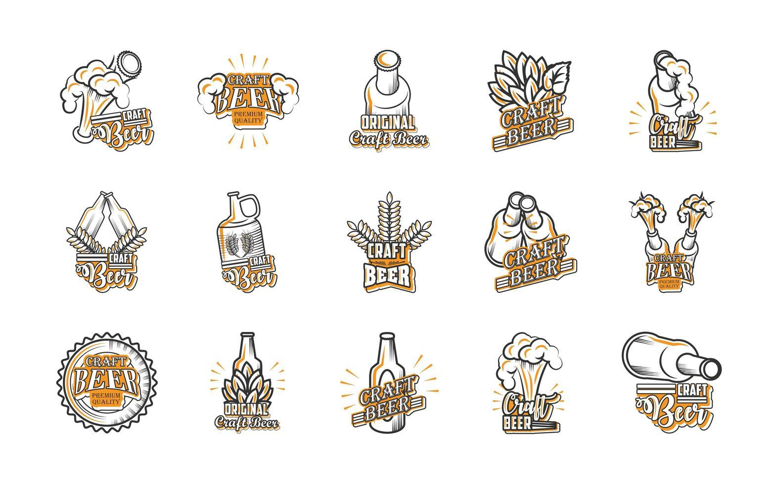set di icone di birra artigianale vettore