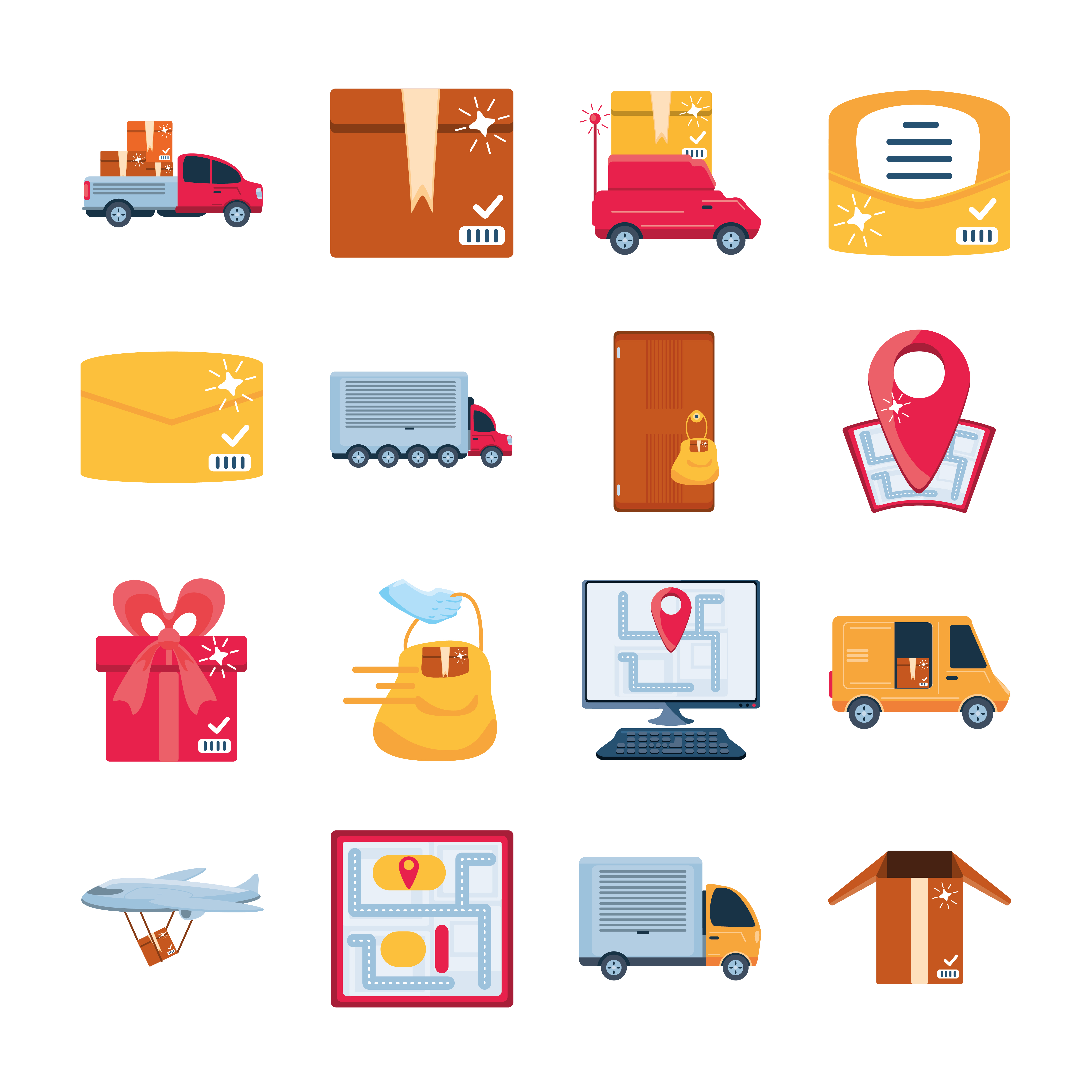 Icon Set Of Delivery And Transportation Goods