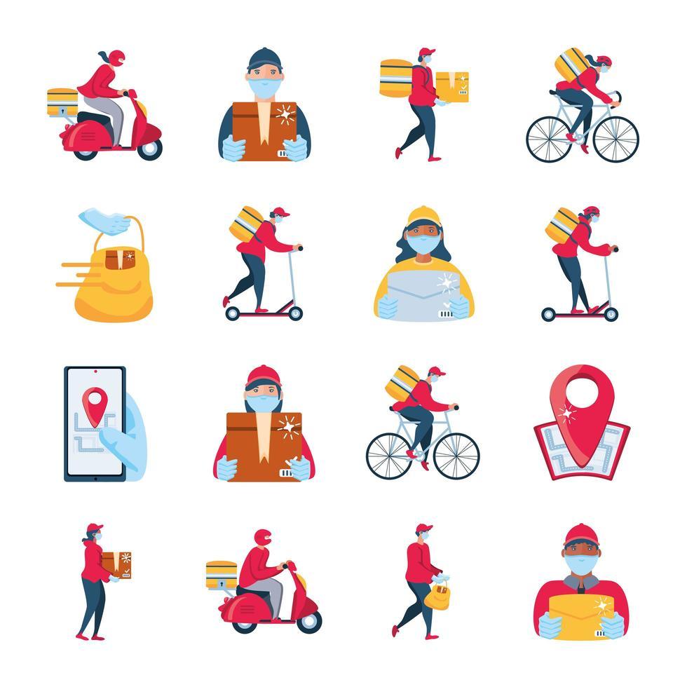 set di icone sulla consegna e il trasporto di merci vettore