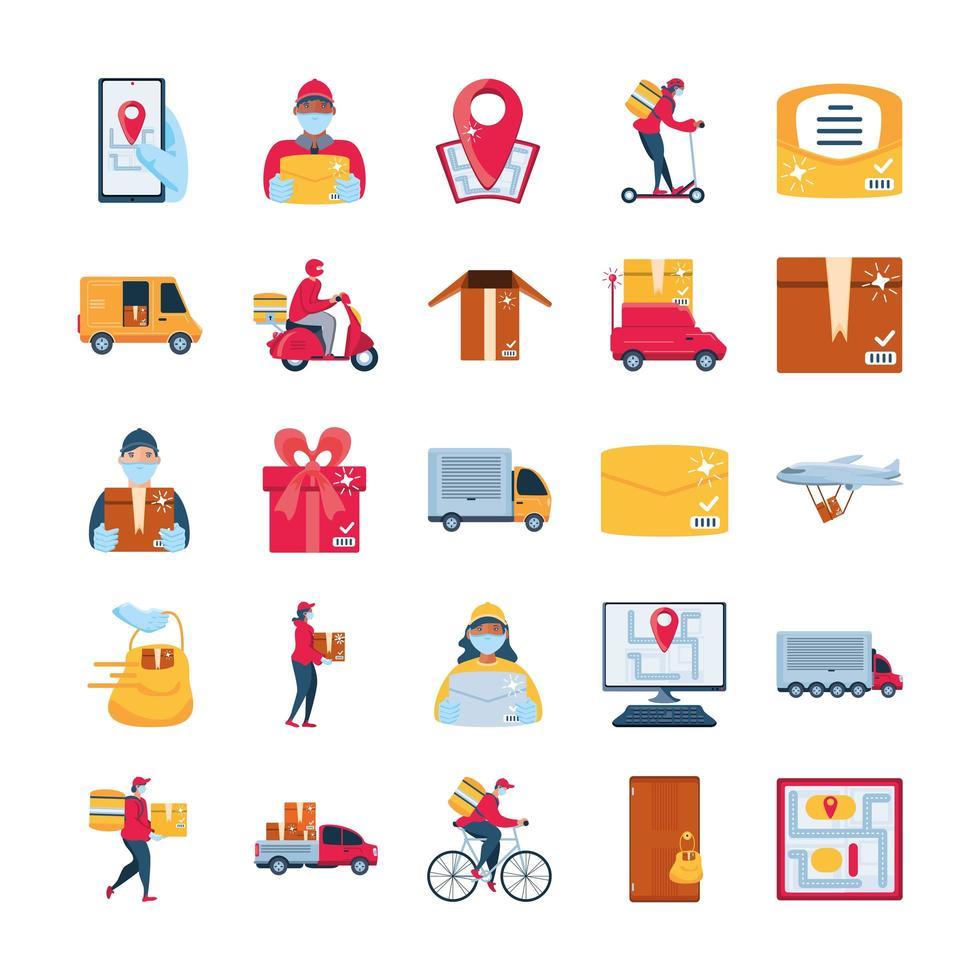 conjunto de iconos de entrega y transporte de mercancías vector