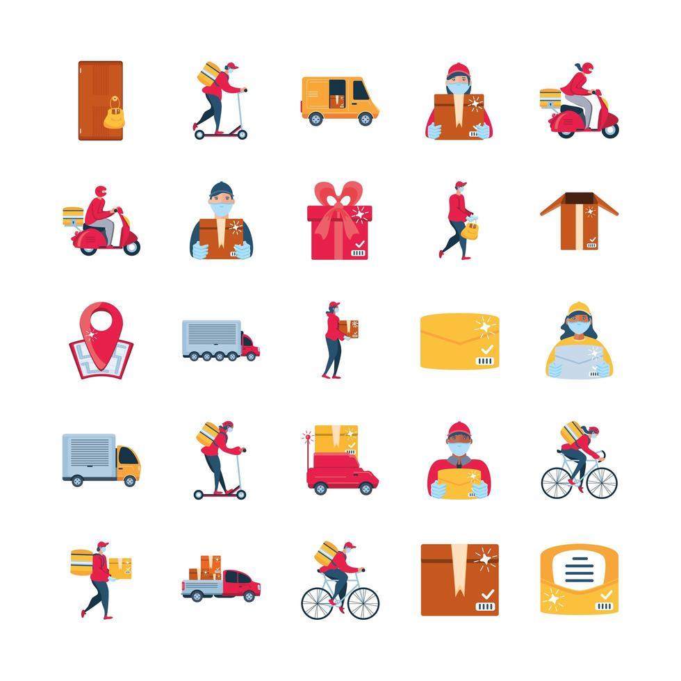 set di icone di consegna con merci di trasporto vettore