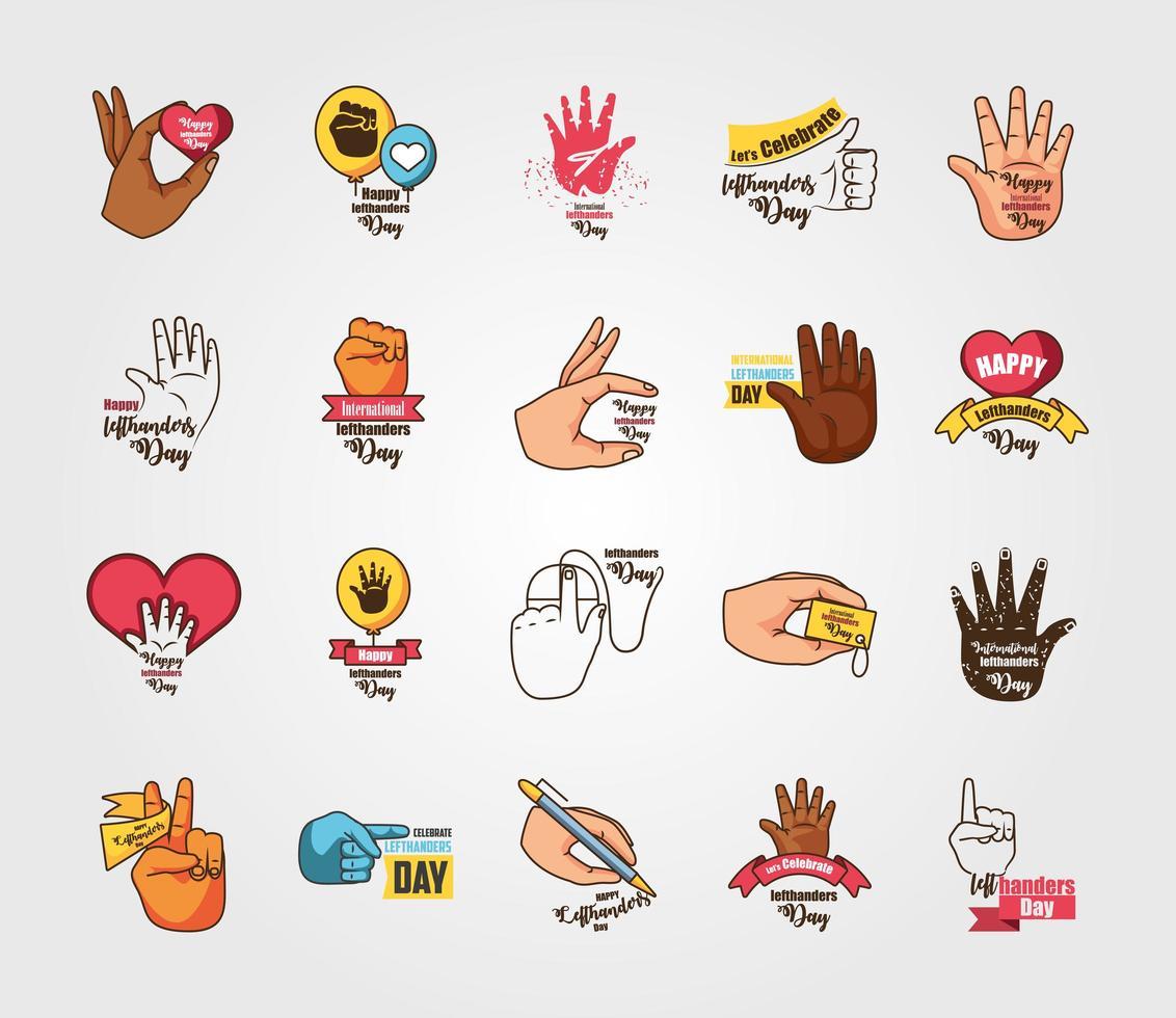 set di icone della giornata internazionale per mancini vettore