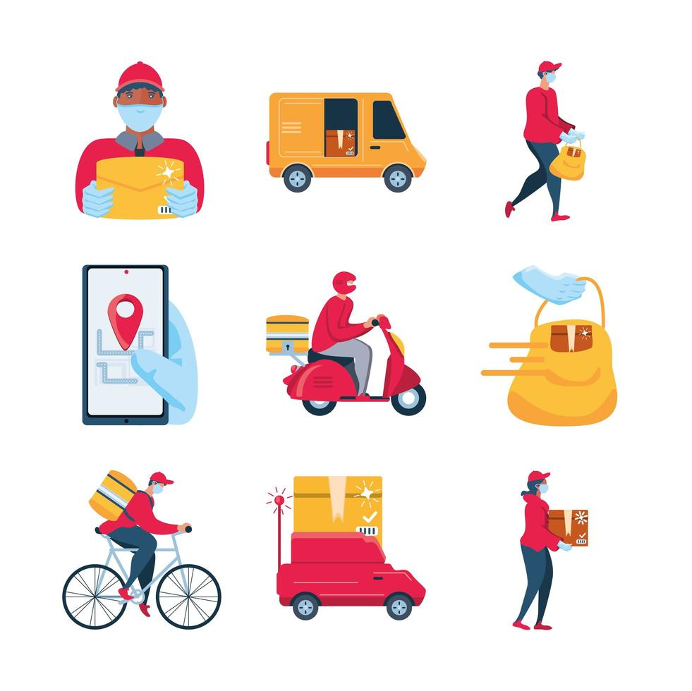 conjunto de iconos de transporte, mercancías y entrega vector