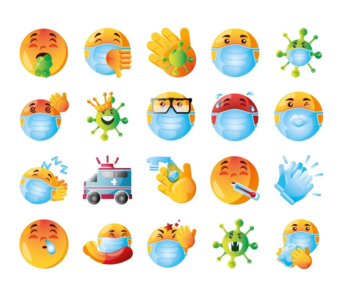conjunto de iconos emoji de covid 19 vector