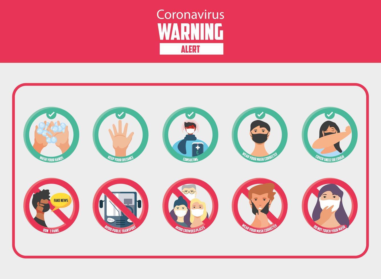 set di icone di misure di sicurezza e precauzioni covid 19 vettore