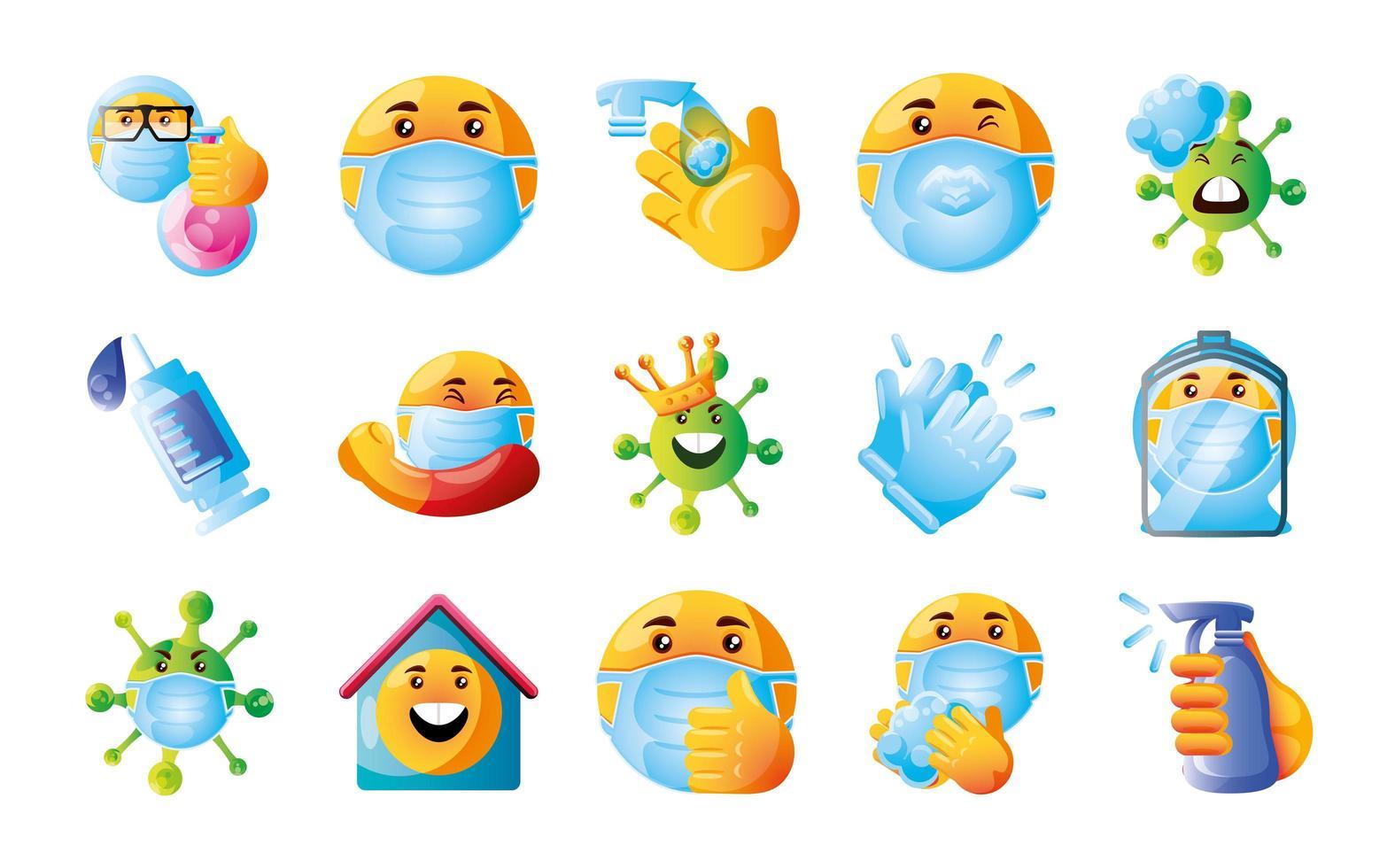 establecer emojis de coronavirus vector