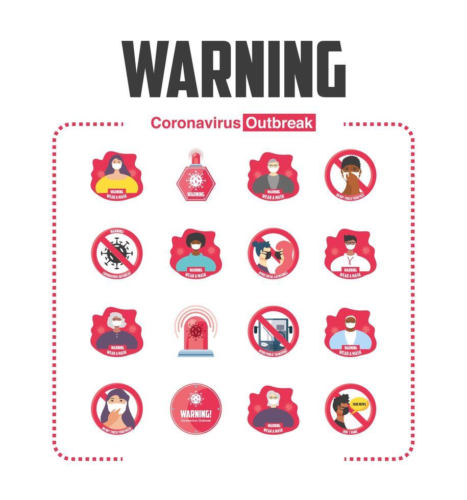 set di misure di sicurezza pandemiche, precauzioni, icone di segnali di pericolo vettore