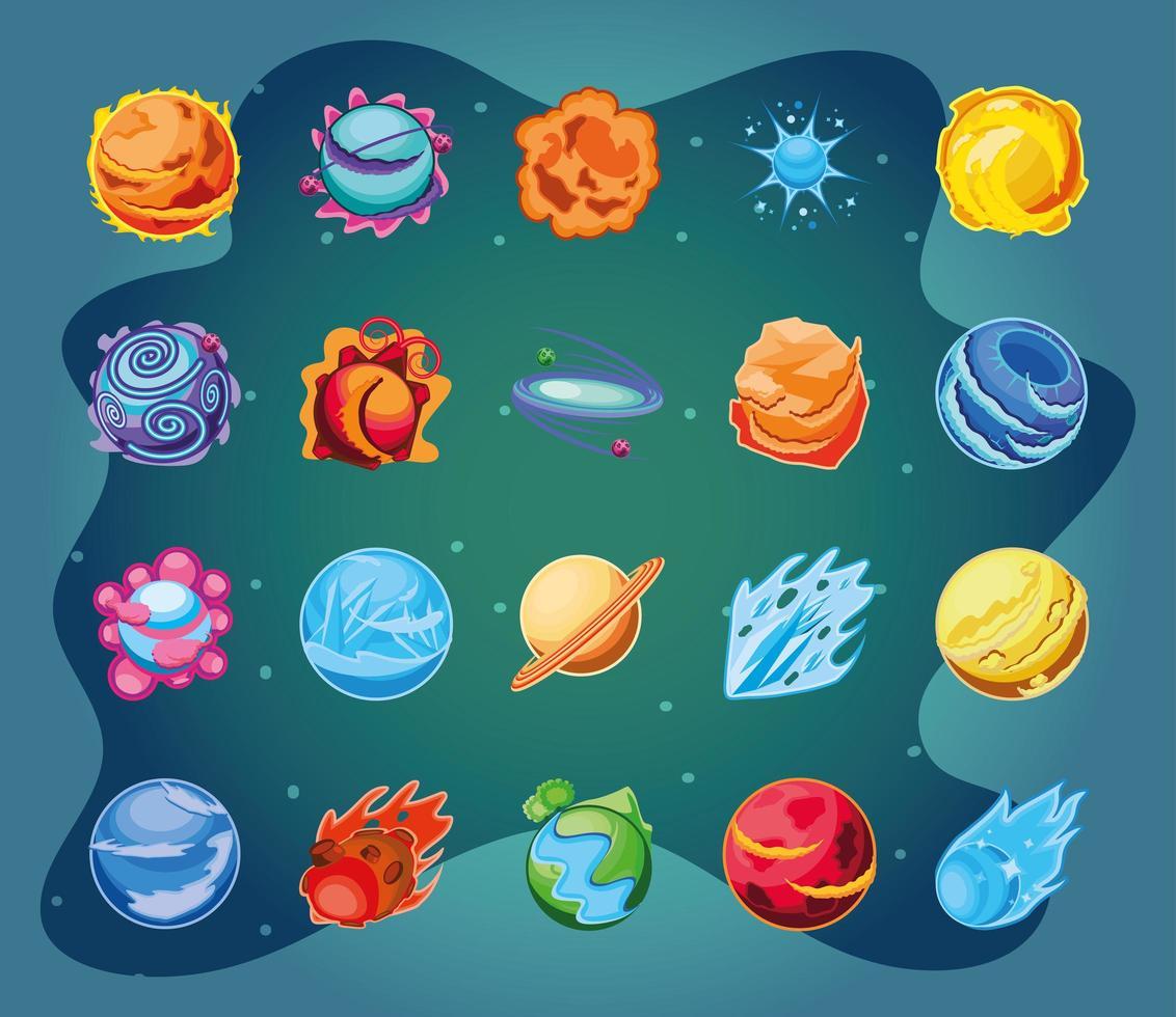 fantastiska planeter Ikonuppsättning vektor