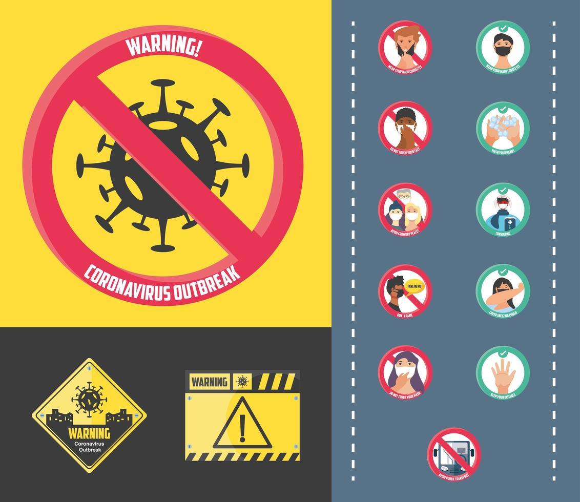 set di icone di misure e precauzioni di sicurezza vettore