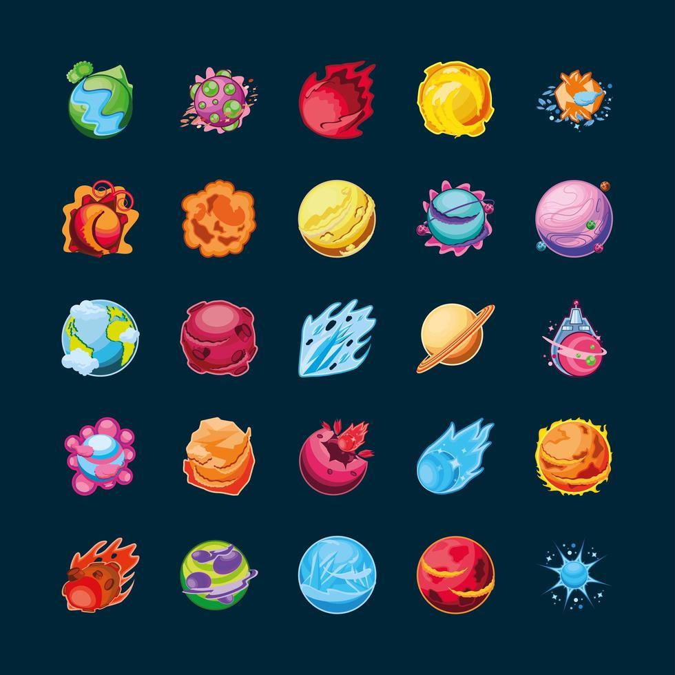 fantastici pianeti set di icone vettore