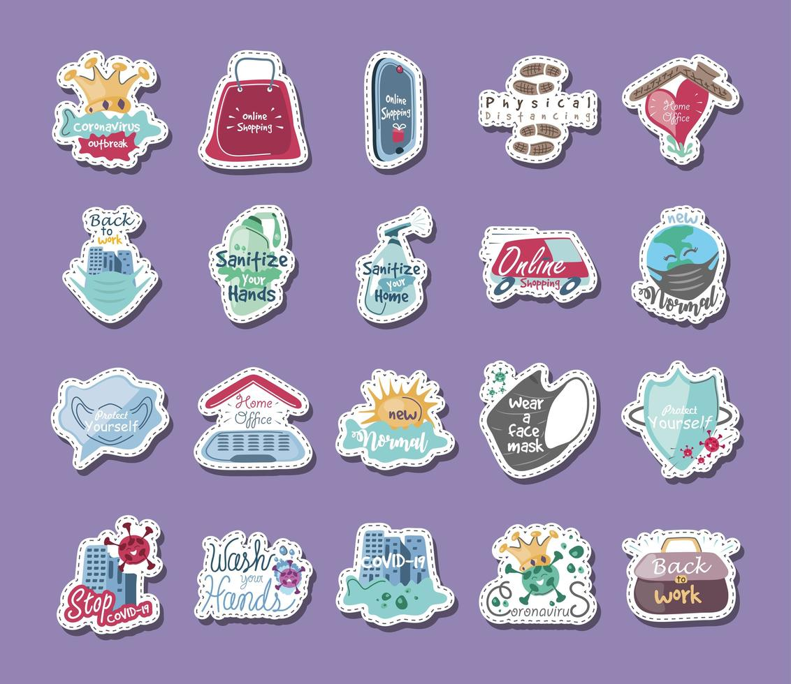 coronavirus conjunto de iconos de prevención y protección. vector