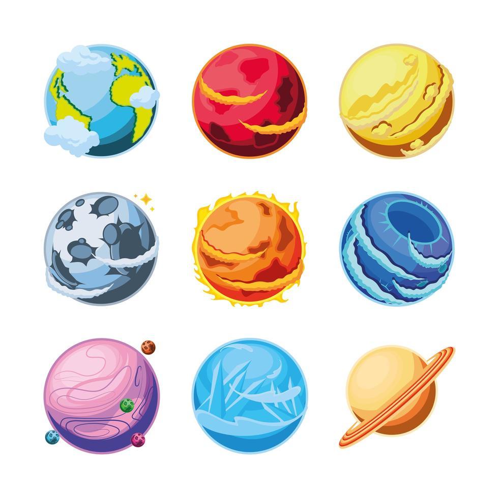set di icone di fantastici pianeti vettore