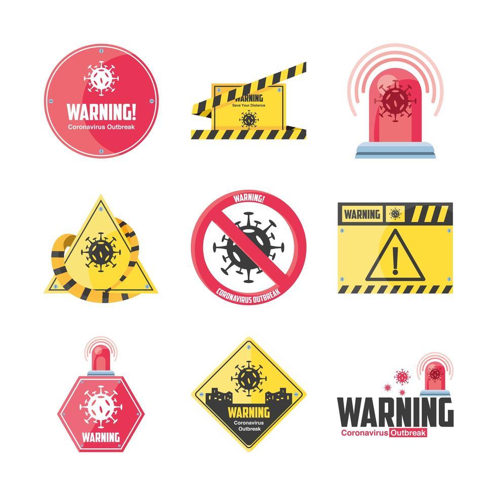 set di icone di misure di sicurezza e precauzioni vettore