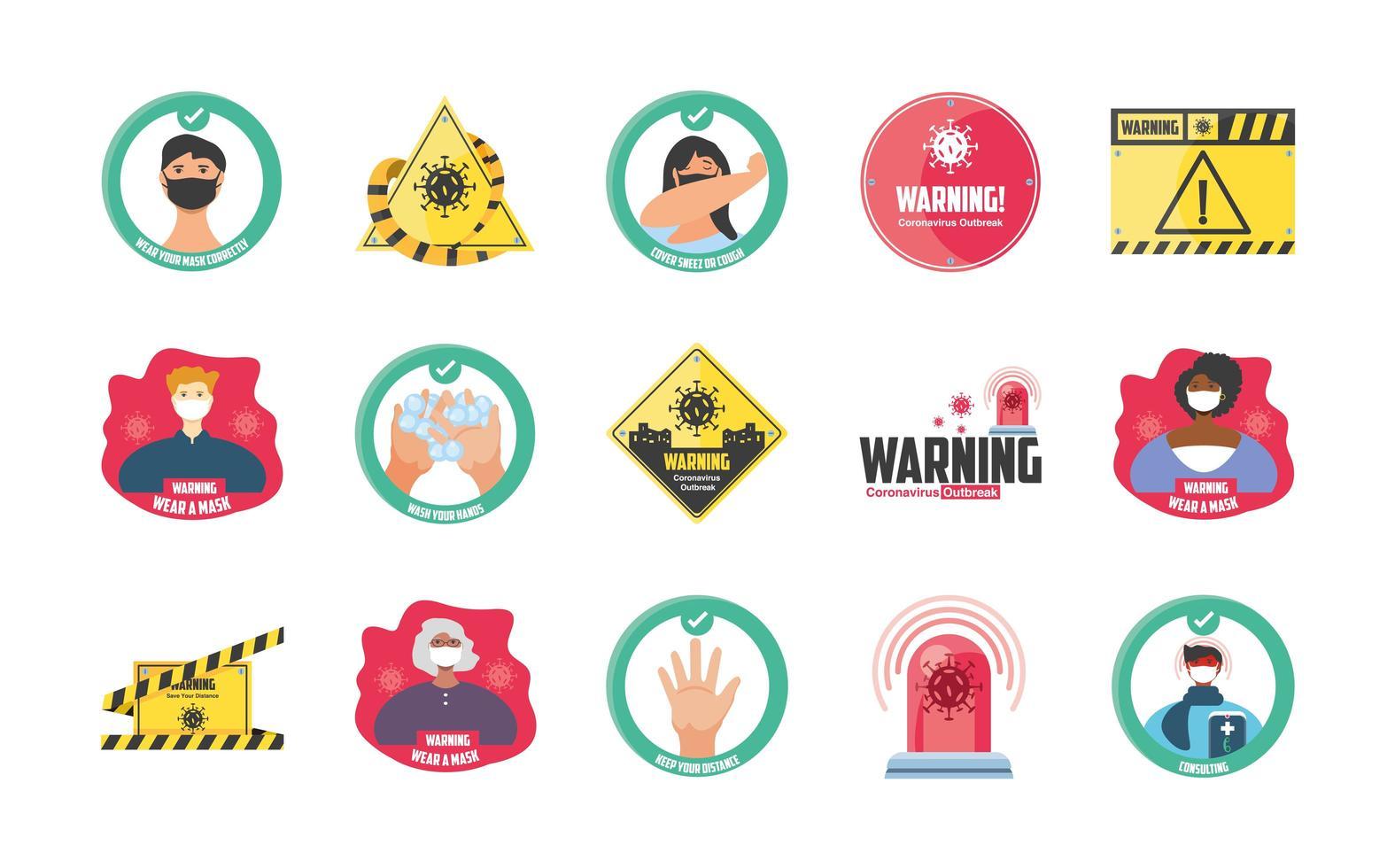 Conjunto de iconos de medidas de seguridad y precauciones. vector