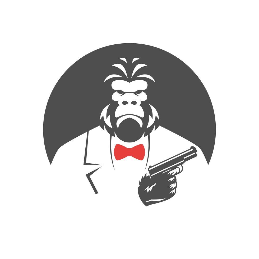 Mono gángster en traje con corbata roja sosteniendo pistola vector
