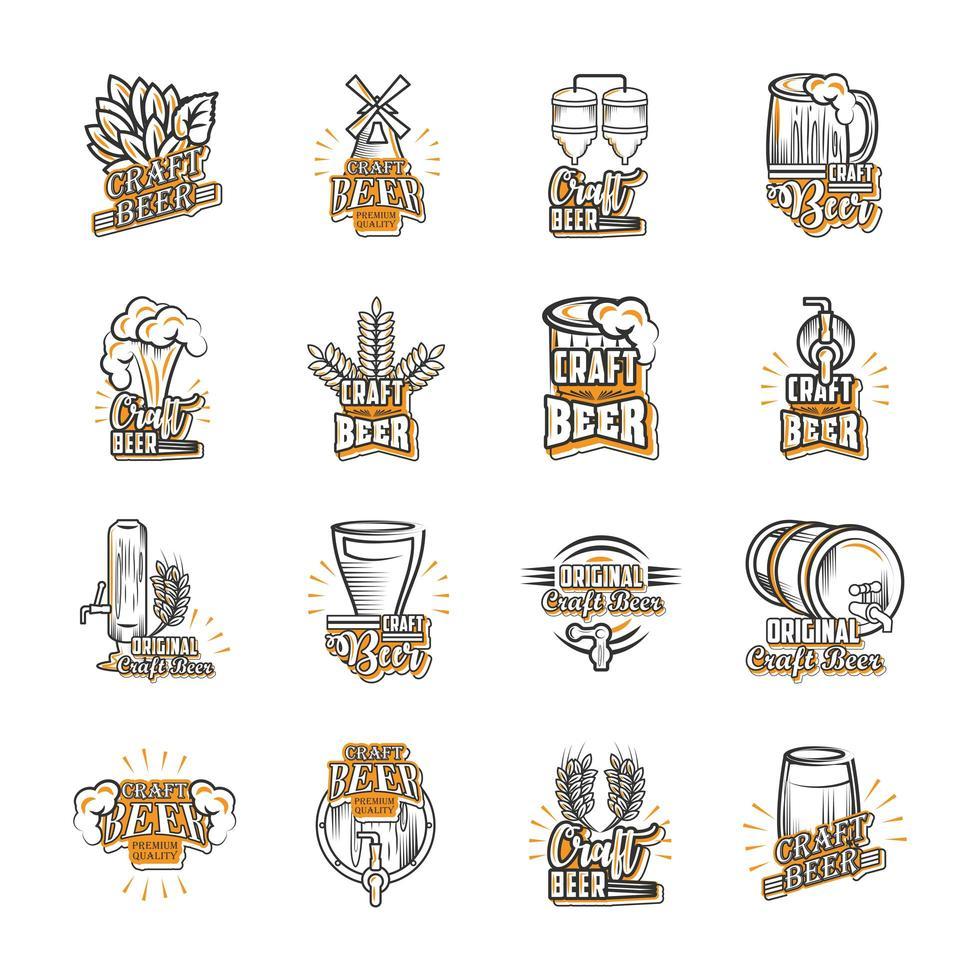 set di icone sulla birra artigianale vettore