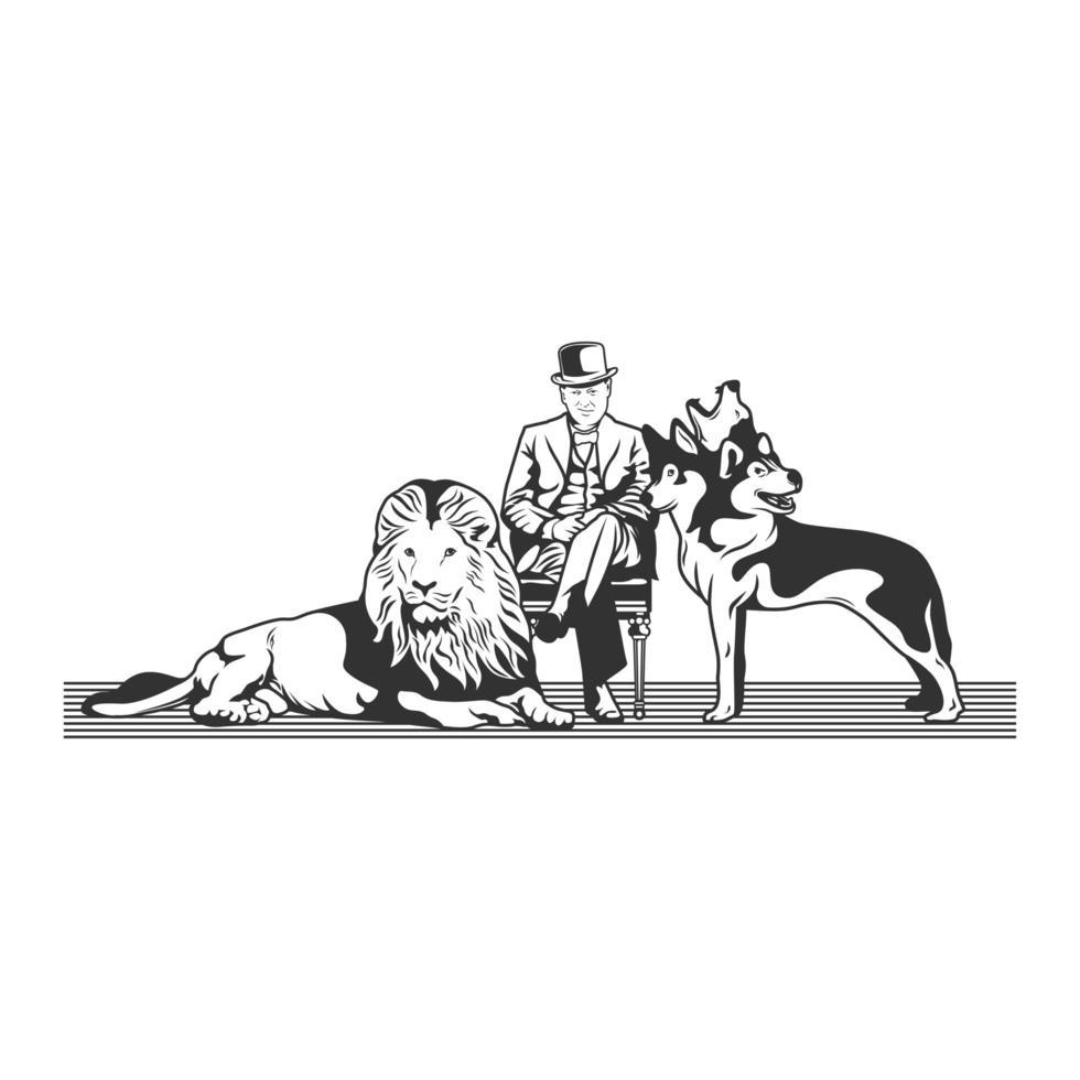 vecchio seduto, leone e cane a 3 teste vettore