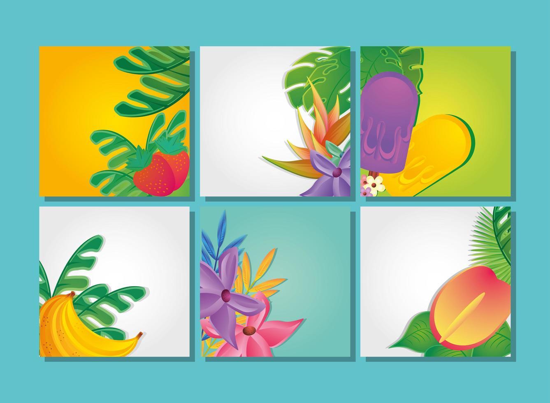 modelli di set di estate con fiori e frutti vettore