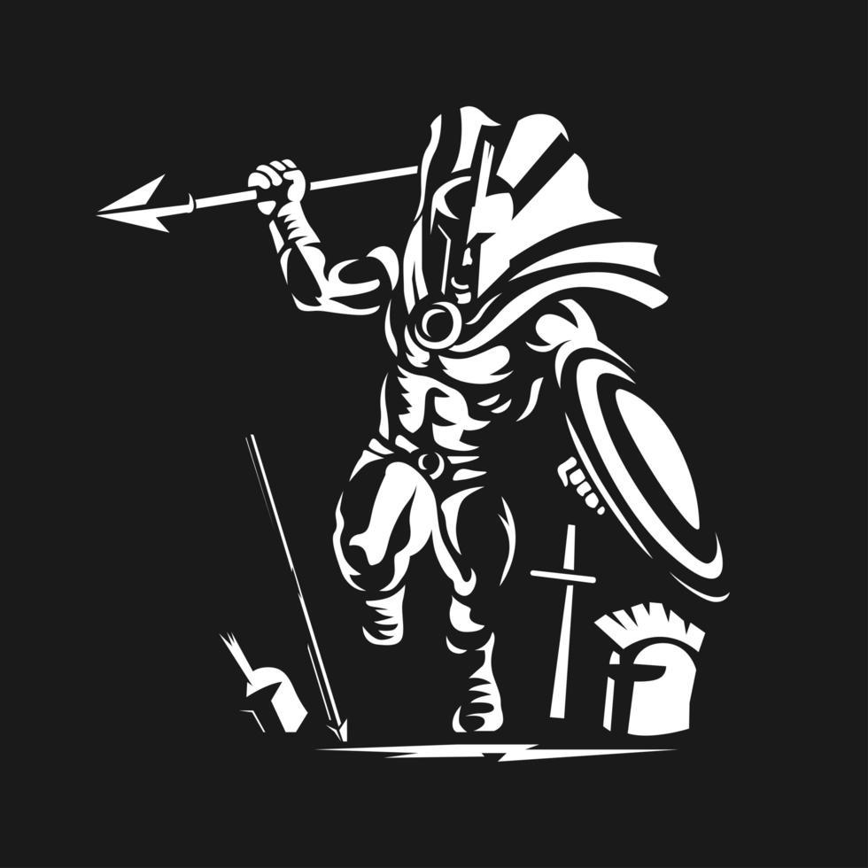 ejecutando gladiador espartano guerrero griego con lanza vector