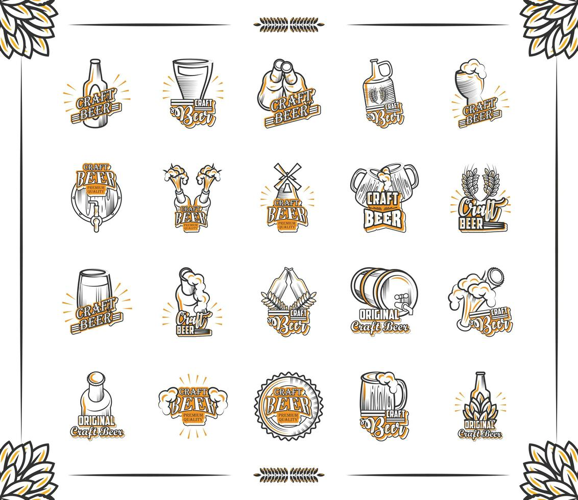 conjunto de iconos de cerveza artesanal vector