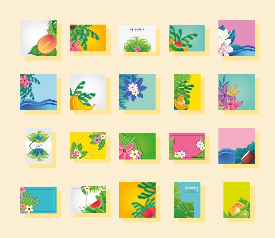 set di modelli di estate e fiori vettore