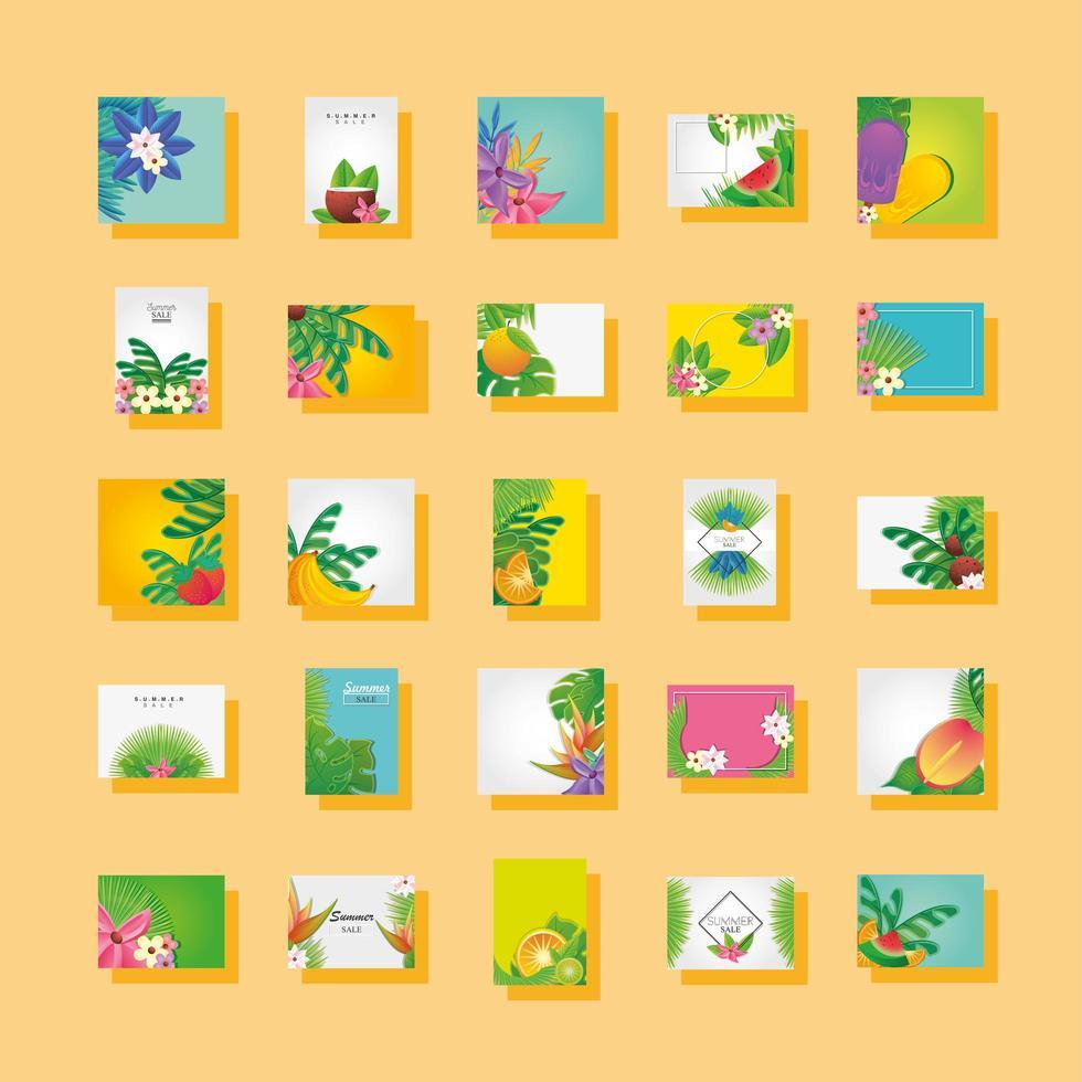 conjunto de plantillas de verano con flores vector