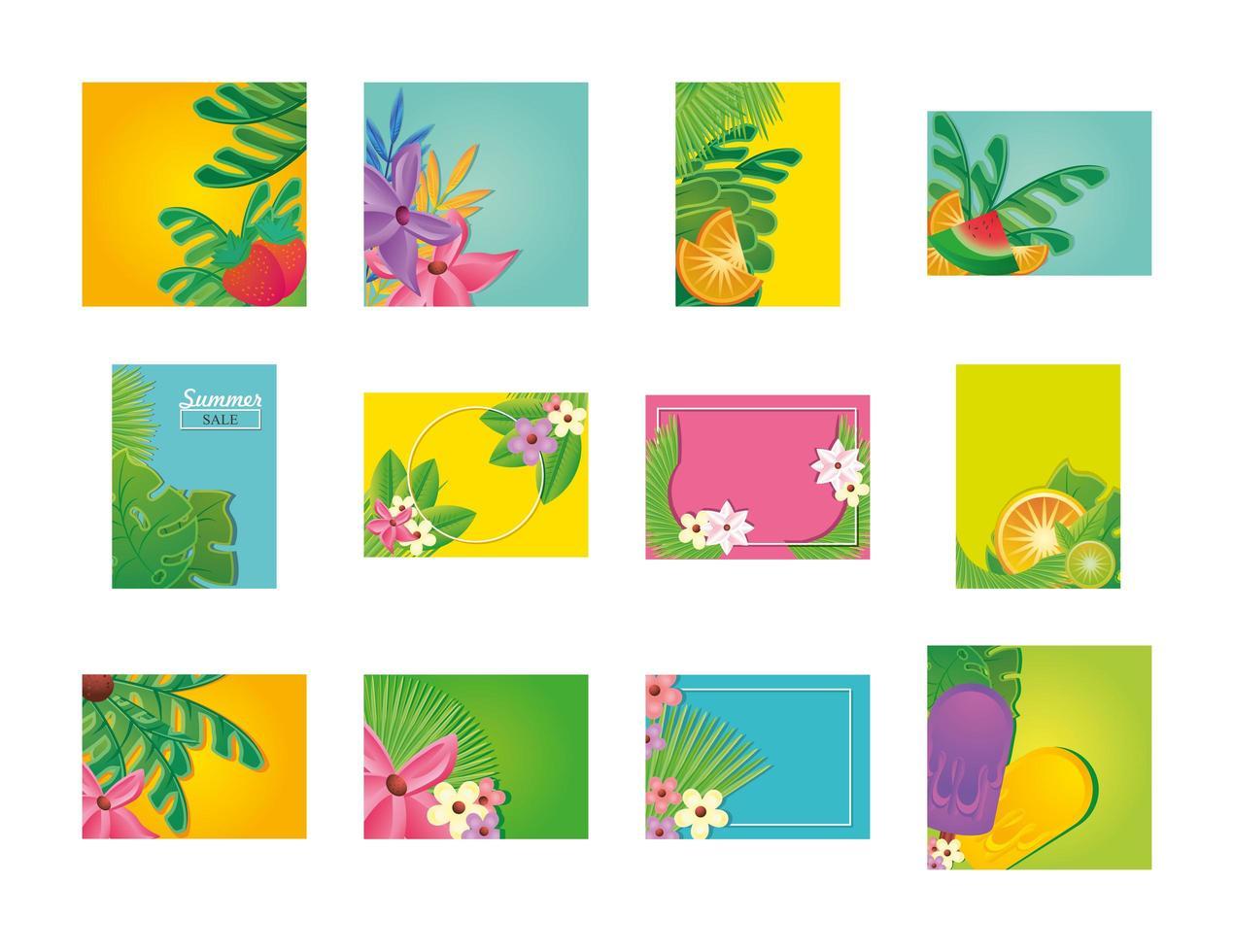 plantillas de verano con flores. vector