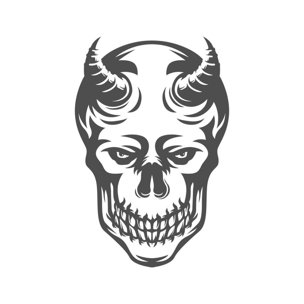 cabeza de calavera con cuerno dibujo en blanco y negro vector