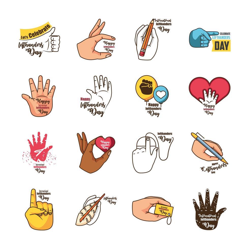 set di icone per la giornata internazionale dei mancini vettore