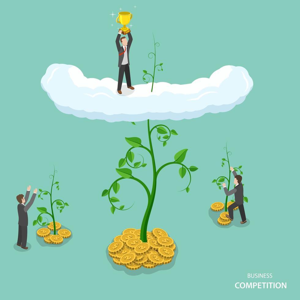 concepto plano isométrico de competencia empresarial vector