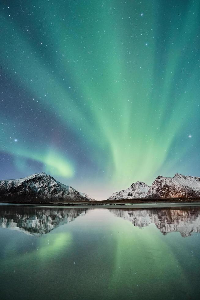 Mountains near a lake with Aurora Borealis photo
