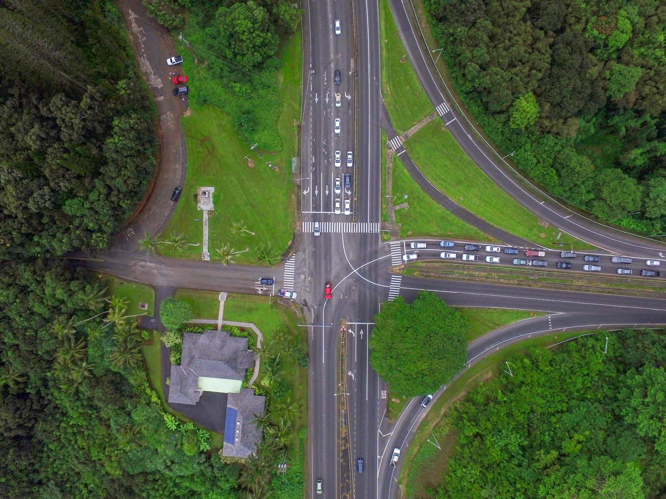 Aerial view of gray roads  photo