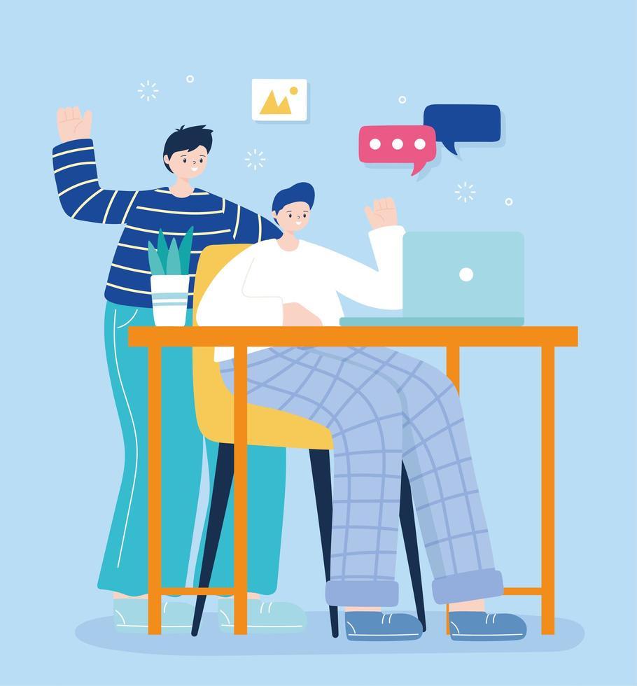due giovani uomini sui social media utilizzando laptop vettore